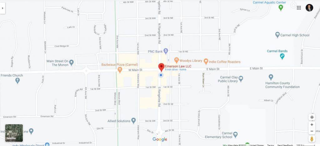 Emerson Law LLC Carmel Map